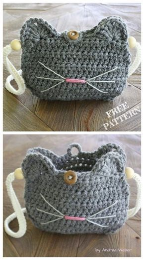 Crochet Cat Purse Free Crochet Patterns #purses