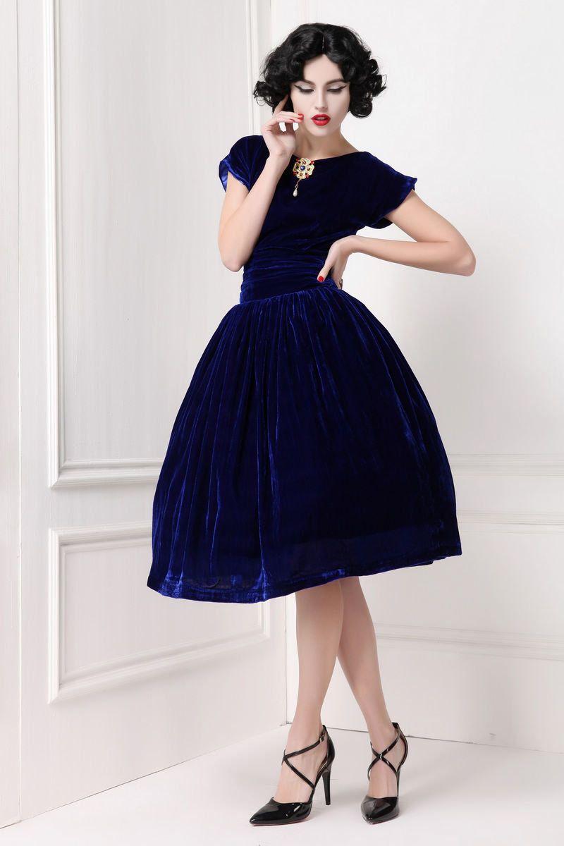 7482fba40ec39 Vintage Inspired Sapphire Blue Velvet Dress with Retro Golden Gem Brooch  Short Sleeve Dark Blue Belt