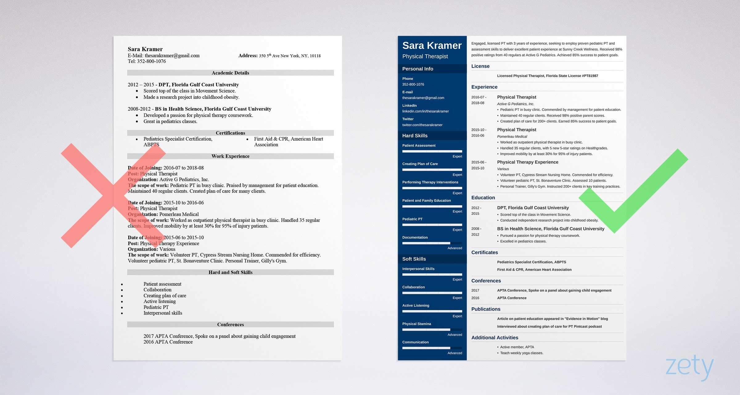 Physical therapy pta resume examples template with