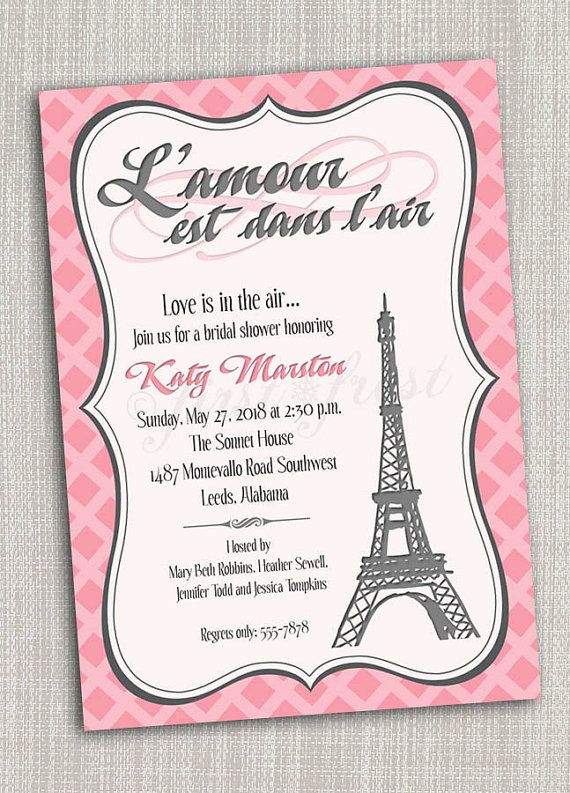 French Themed Eiffel Tower Paris Party Invitation Card Wedding