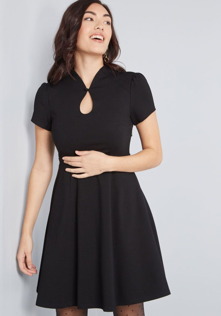 d99cee3b01 High Society Style Short Sleeve Dress in Black in S - A-line Knee Length by  ModCloth