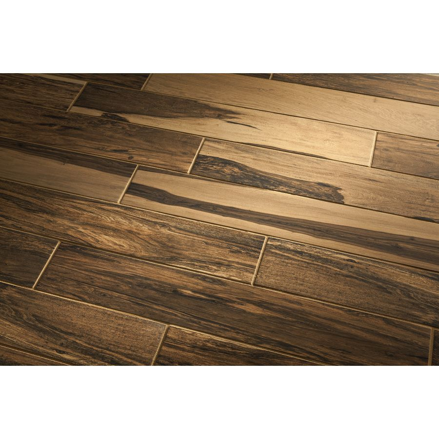 Shop Style Selections Brazilian Pecan Natural Porcelain Floor And Wall Tile Common 6 In X 36 In Actual Outdoor Flooring Flooring Wood Grain Tile