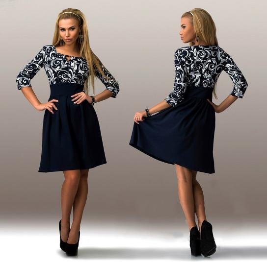 Letní šaty modré s dlouhým rukávem - VÝPRODEJ 239 Kč nebo 9.08 Eur +  POŠTOVNÉ ZDARMA 7d4b757d43