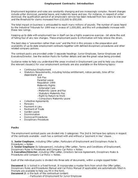 Resume For Contracts Employment Contract Template Details