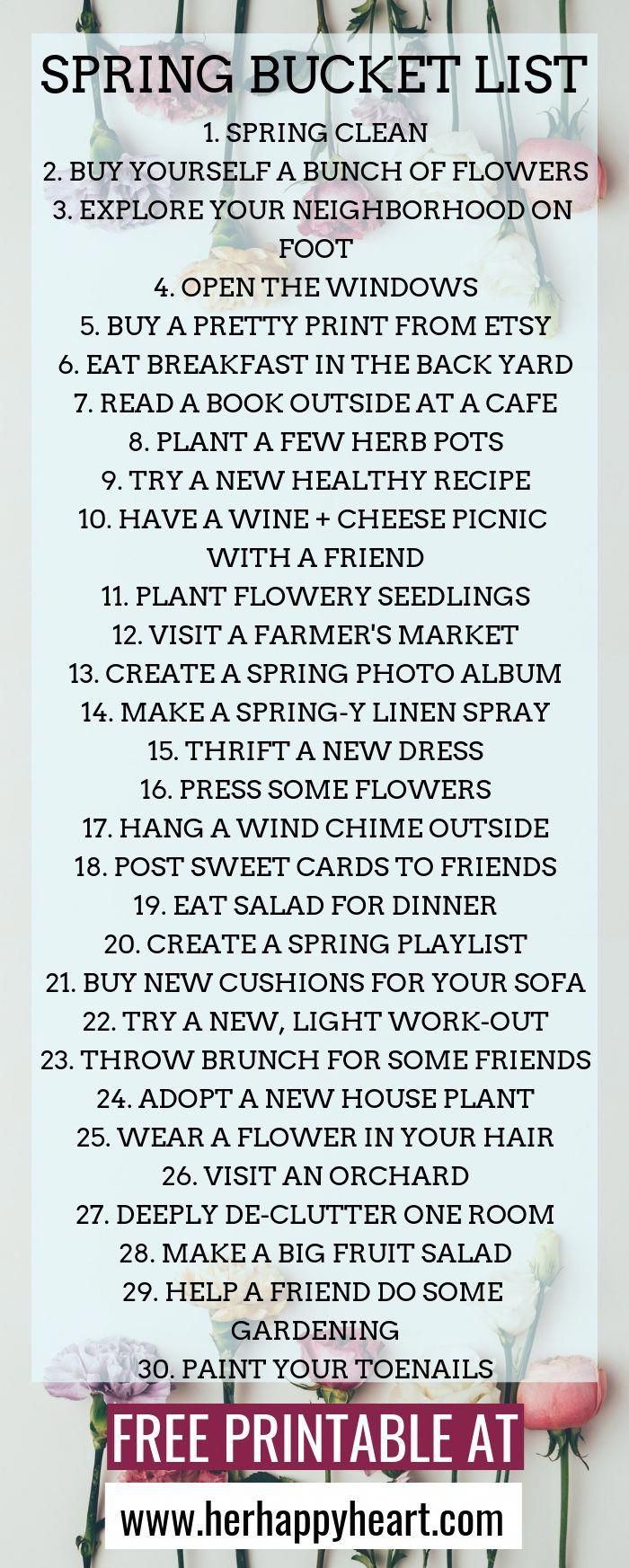 Spring bucket list Spring things to do with friends