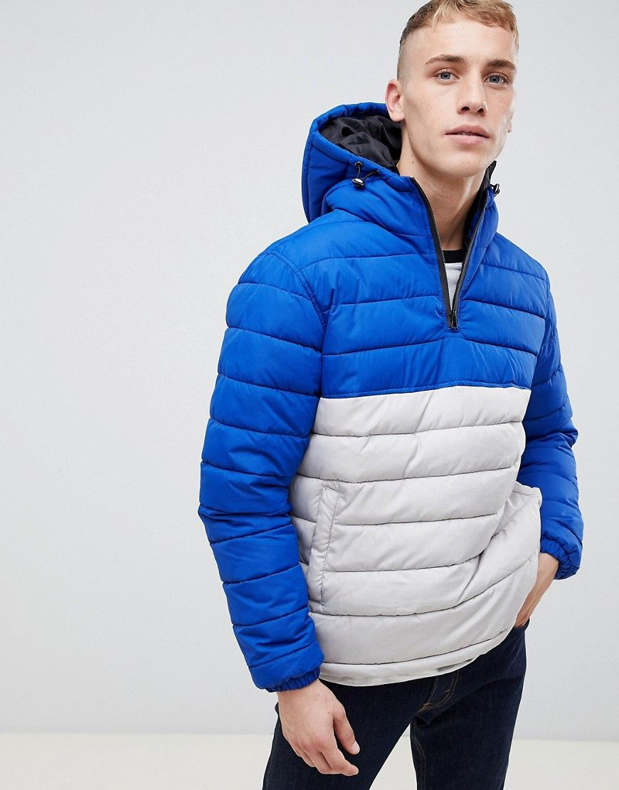 NEW LOOK COLOR BLOCK PUFFER JACKET IN SILVER SILVER.