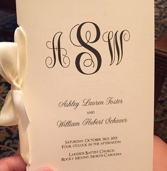 Classic Monogram Wedding Programs