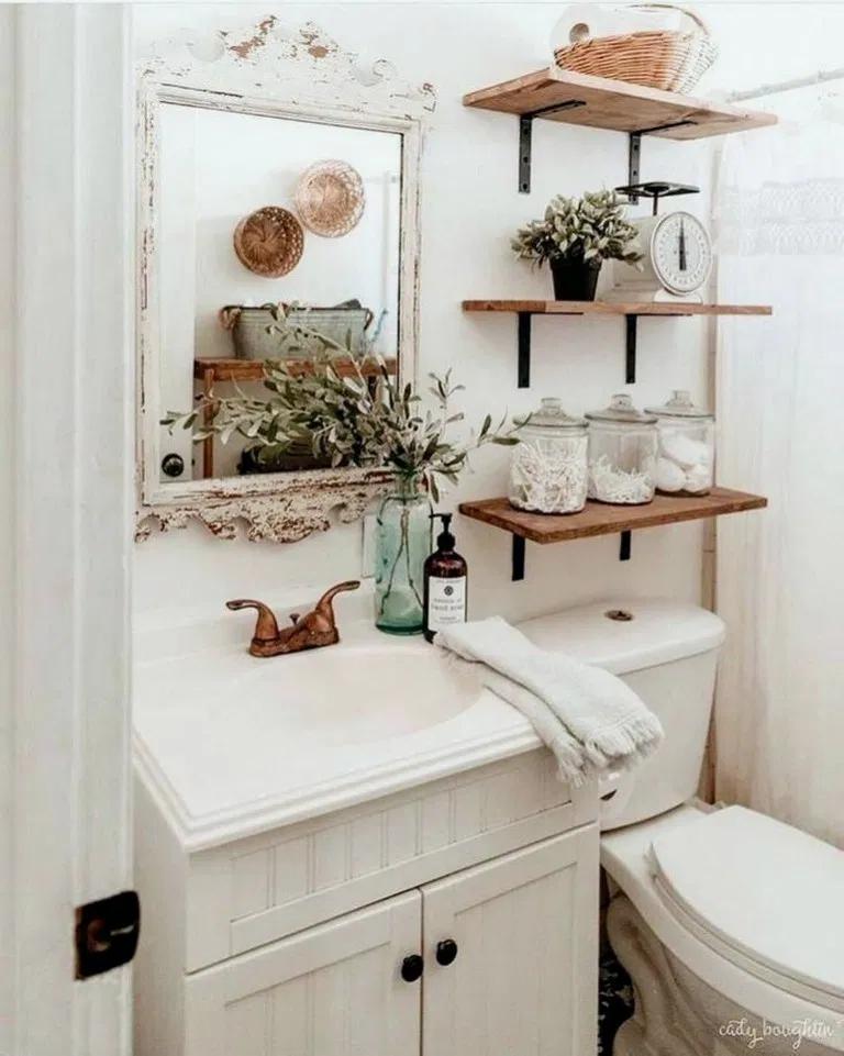 33 Awesome Creative Collage Apartment Decoration Ideas Small Bathroom Shelves Farmhouse Bathroom Decor Small Bathroom Decor