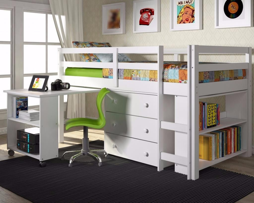 Twin bed loft bed  Twin Loft Bed with Desk and Storage  White  Lofts Desks and Twins