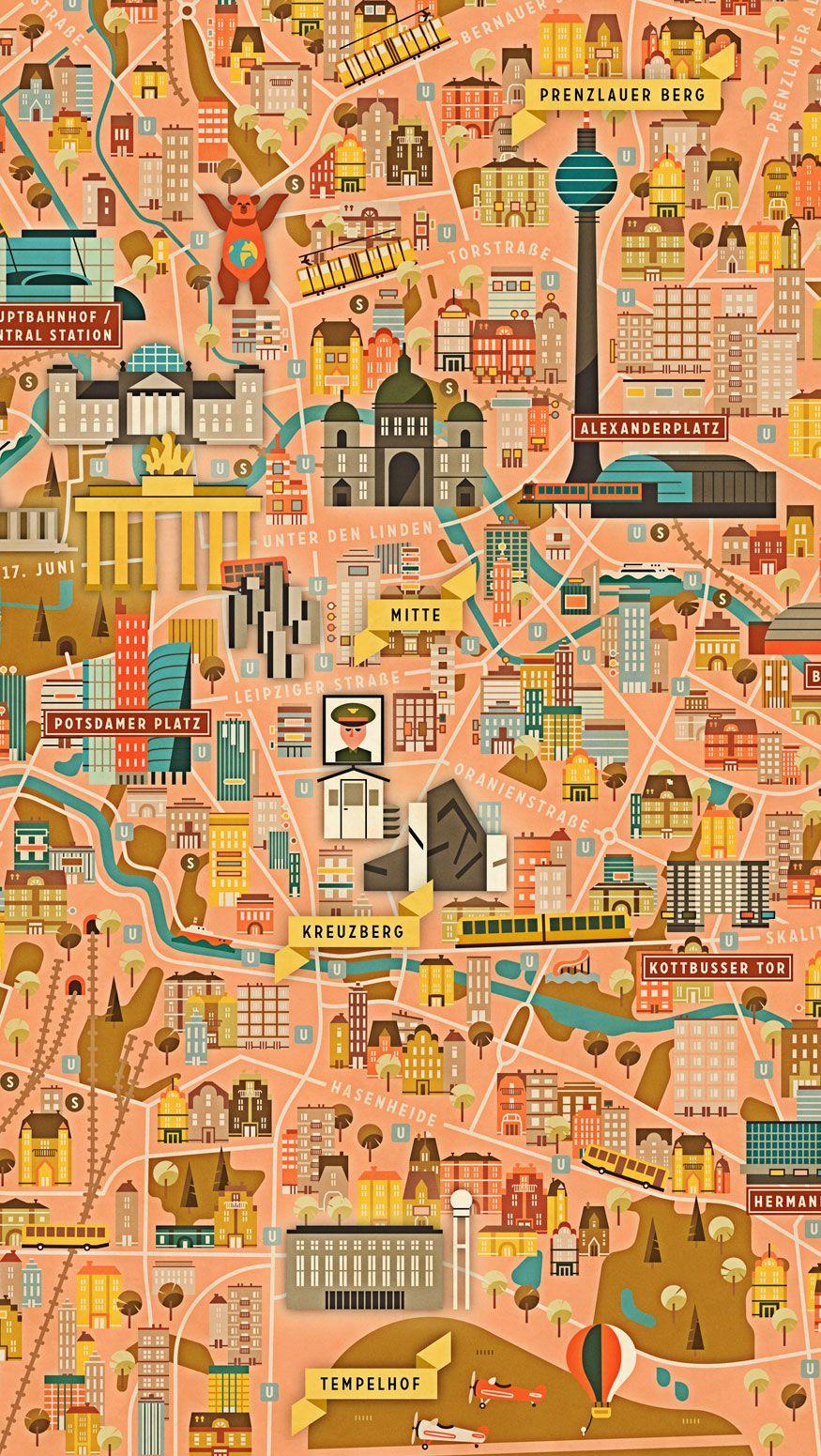 Berlin Map Illustrierte Karten Reisekarten Stadtfuhrung