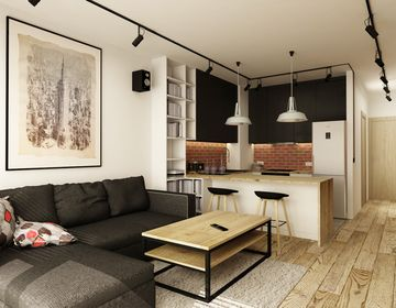 Kuchnia Z Salonem W Malym Mieszkaniu Szukaj W Google Apartment Interior Design Brick Living Room Small Apartment Design