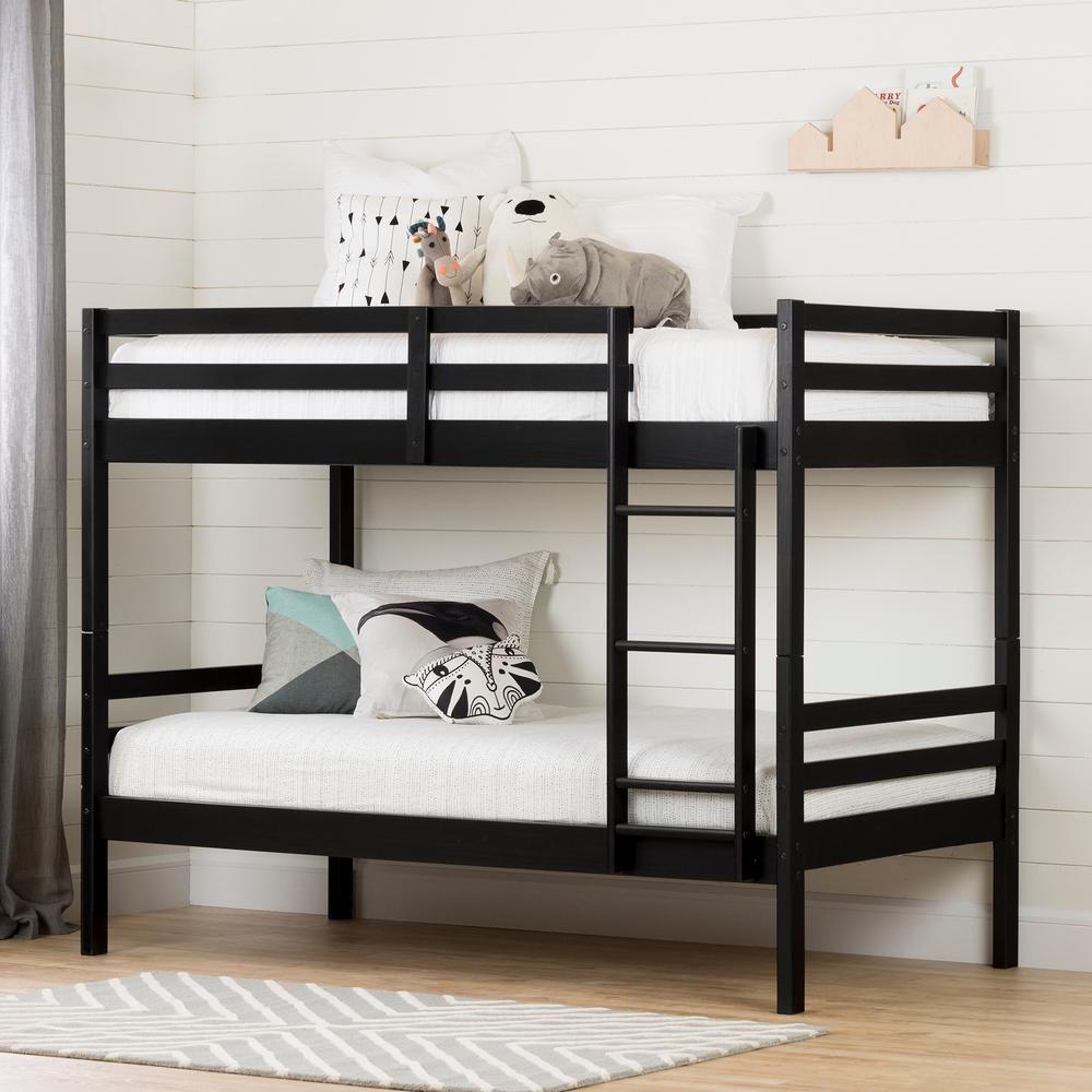 South Shore Fakto Matte Black Twin Bunk Bed 11822 Twin Bunk Beds