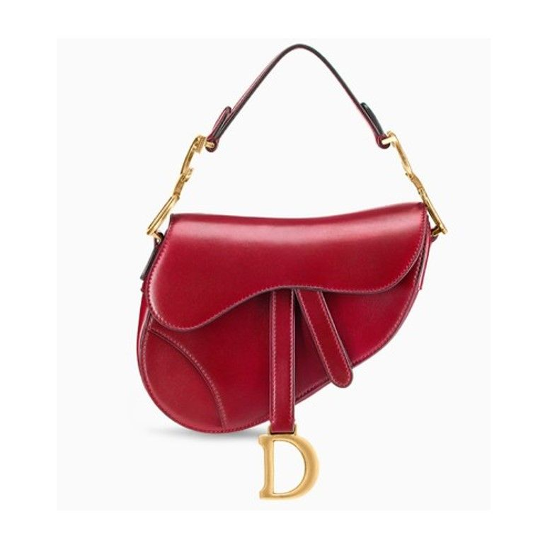 321c1560cd64 Mini Dior saddle bag in red calfskin leather