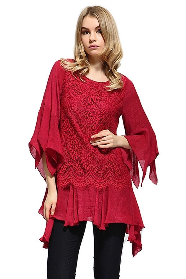 RED CRIMSON LACE BLOUSE FASHION DESIGN COCKTAIL PARTY OCCASION SHIRT/ TUNIC - XL #SCC #Tunic #Casual