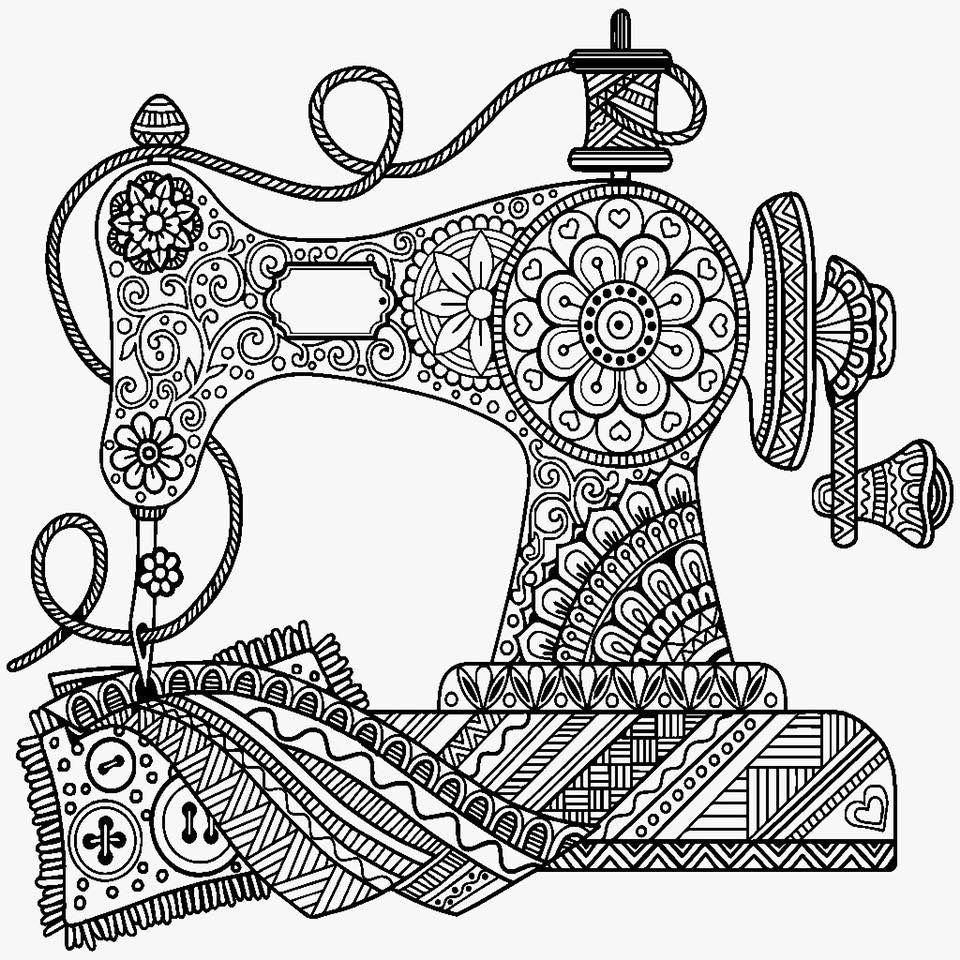 Pin By Anna Luley On Cricut Sewing Machine Drawing Vintage Sewing Machine Coloring Pages