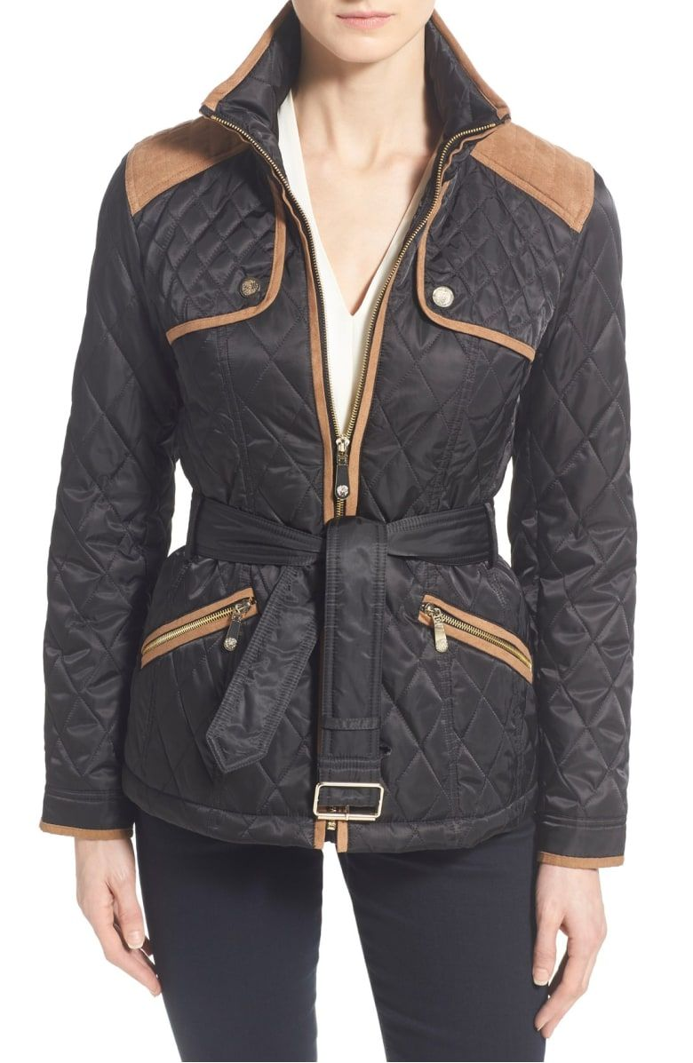Vince Camuto Faux Suede Trim Belted Quilted Jacket Nordstrom Quilted Jacket Jackets Double Breasted Trench Coat [ 1197 x 780 Pixel ]
