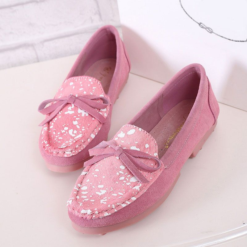 Bowknot Genuine Leather Flats Loafers Shoes Fashion Women's Shoes Durable Cow Muscle Shoes Support Dropship - BelleShare.com