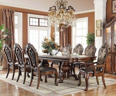 Acalanes Ridge 118\  Brown Cherry Extendable 9 PC Dining Table Set & Acalanes Ridge 118\