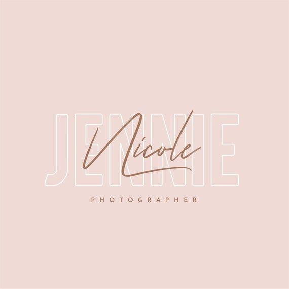 Watercolor logo lettering caligraphy template, minimalist logo feminime premade logo photography watermark logo boutique logo modern logo