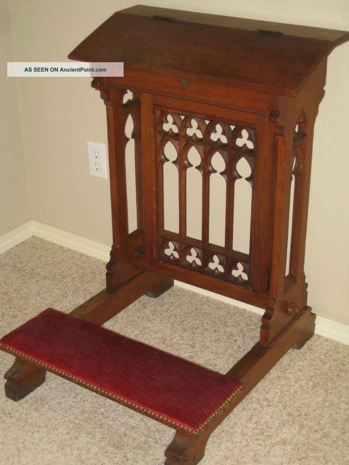 Gothic Revival Furniture   Gothic Revival Carved Oak Prayer Bench / Prayer  Kneeler / Prie Dieu .