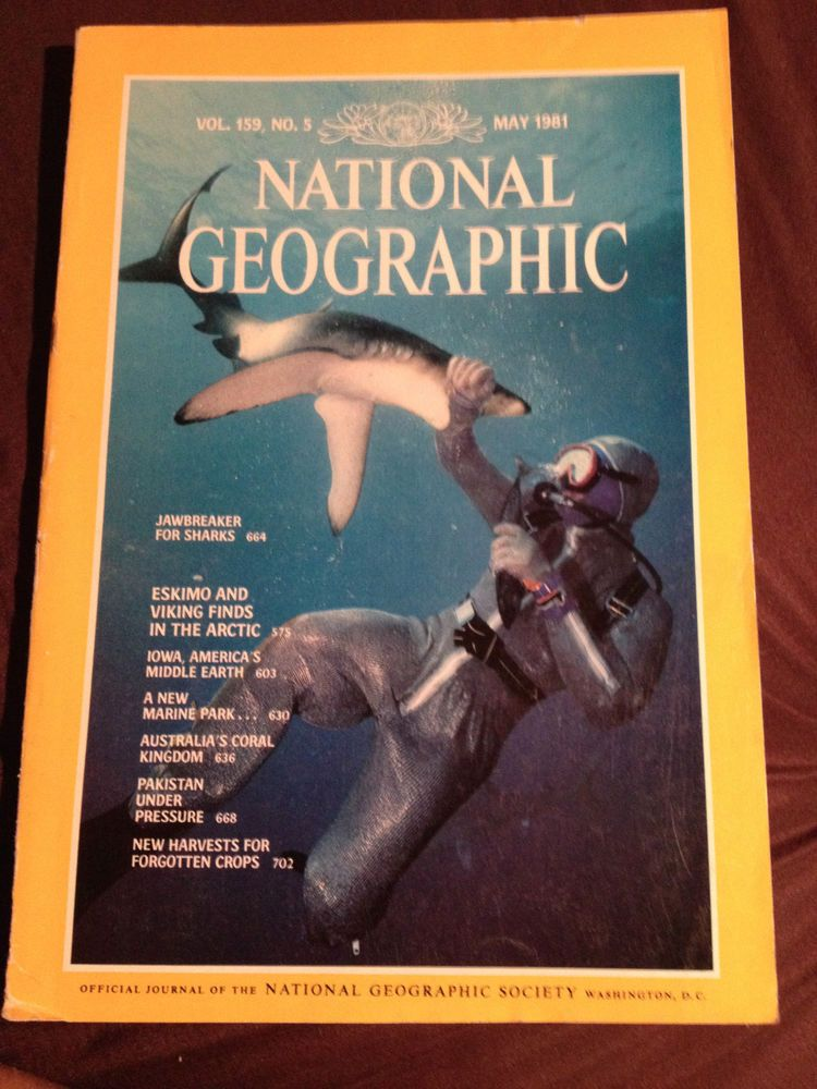 National Geographic May 1981 Iowa Barrier Reef Shark Suit