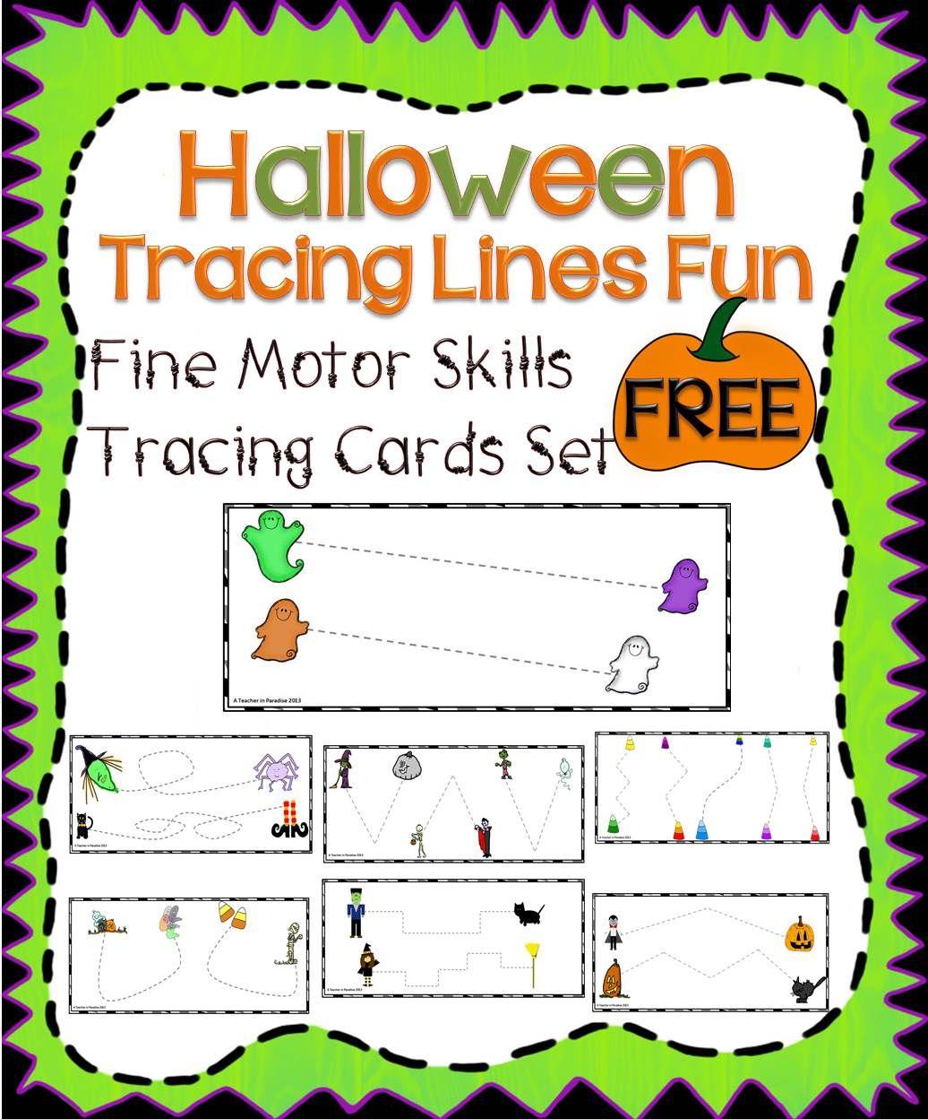 Halloween Tracing Lines Fun Fine Motor Skills Tracing Cards Set