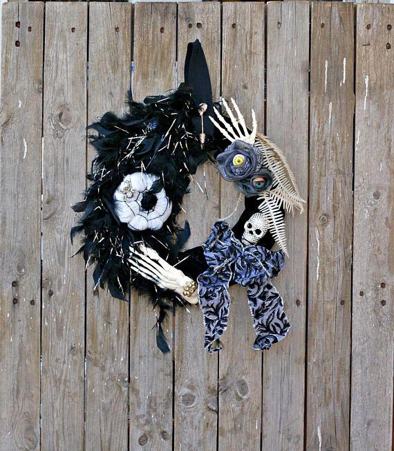 Halloween Wreath Spooky Halloween Decor Skeleton Wreath