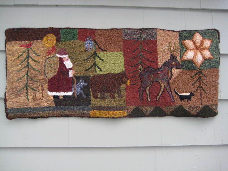572 Christmas Runner Rug Hooking Hand Hooked Rugs Christmas Runner