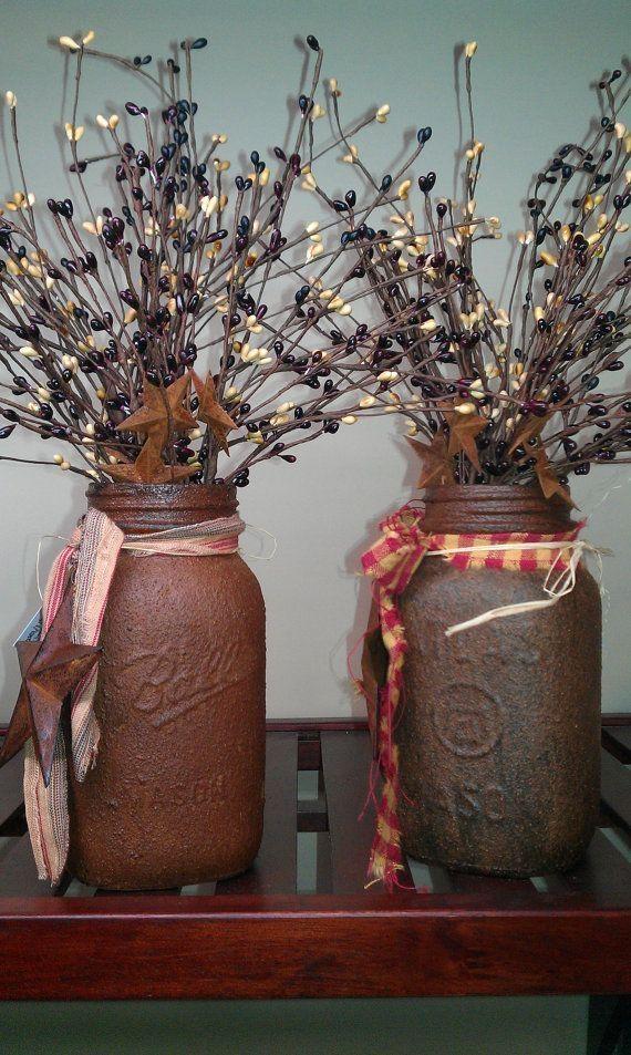 PRIM Grubby Quart Mason Jar with Fixin's by KaseyS