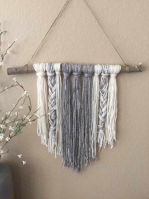Yarn Wall Hanging Braided Gray Amp Ivory Modern Decor Boho