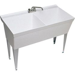 Swanstone Offers This Double Bowl Laundry Tub Utility Sink A 44 Gallon Water Capacity And Features Molded In Washboard