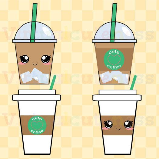 Coffee Cups Clip Art Espresso Clipart Iced By Virtualcuteness