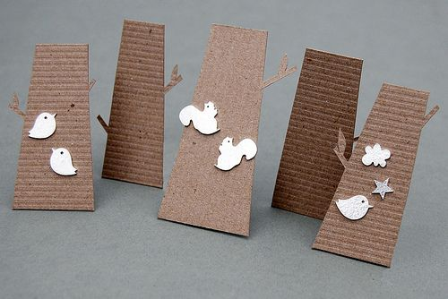 Little corrugated earring cards shaped like trees. Love this for woodland designs!