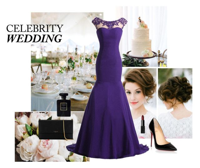 """""""CELEBRITY WEDDING"""" by celia-butera57 ❤ liked on Polyvore featuring Lauren Conrad, Yves Saint Laurent, Christian Louboutin, Blue Nile, Lanvin, NARS Cosmetics and Chanel"""