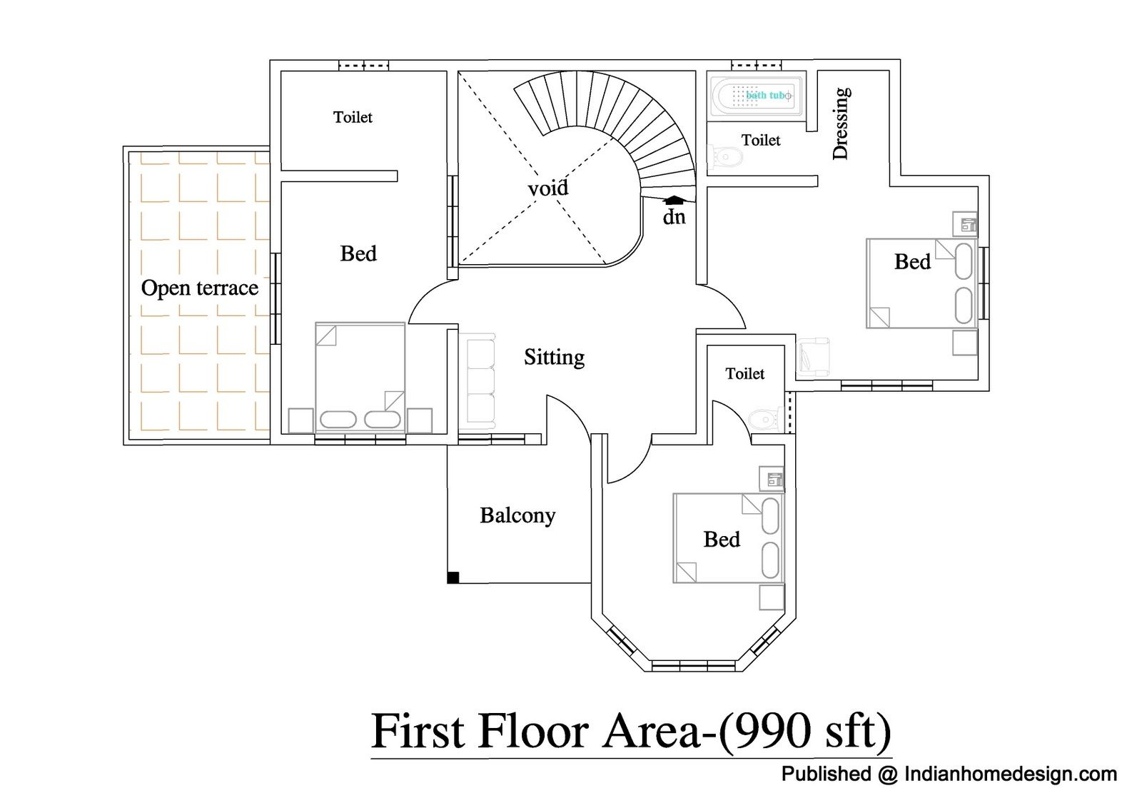 upstairs, 3 bedroom india inspired house Home design