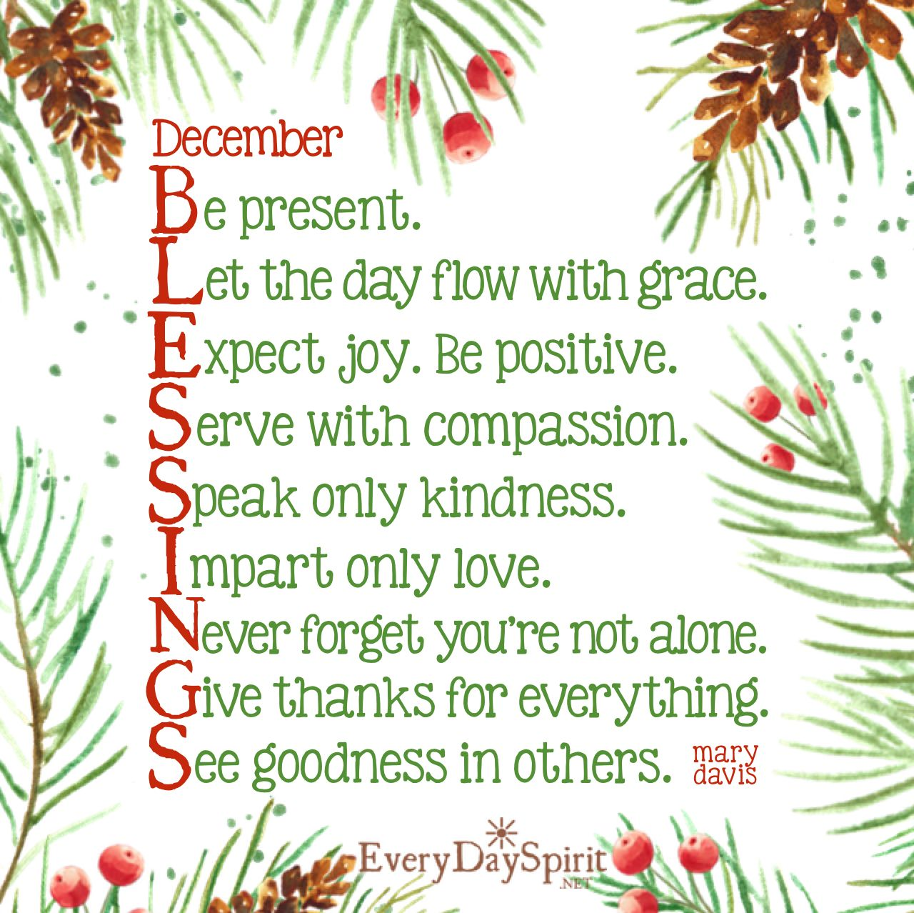 Happy Holidays Inspirational: December Blessings With Great Love! Visit Www