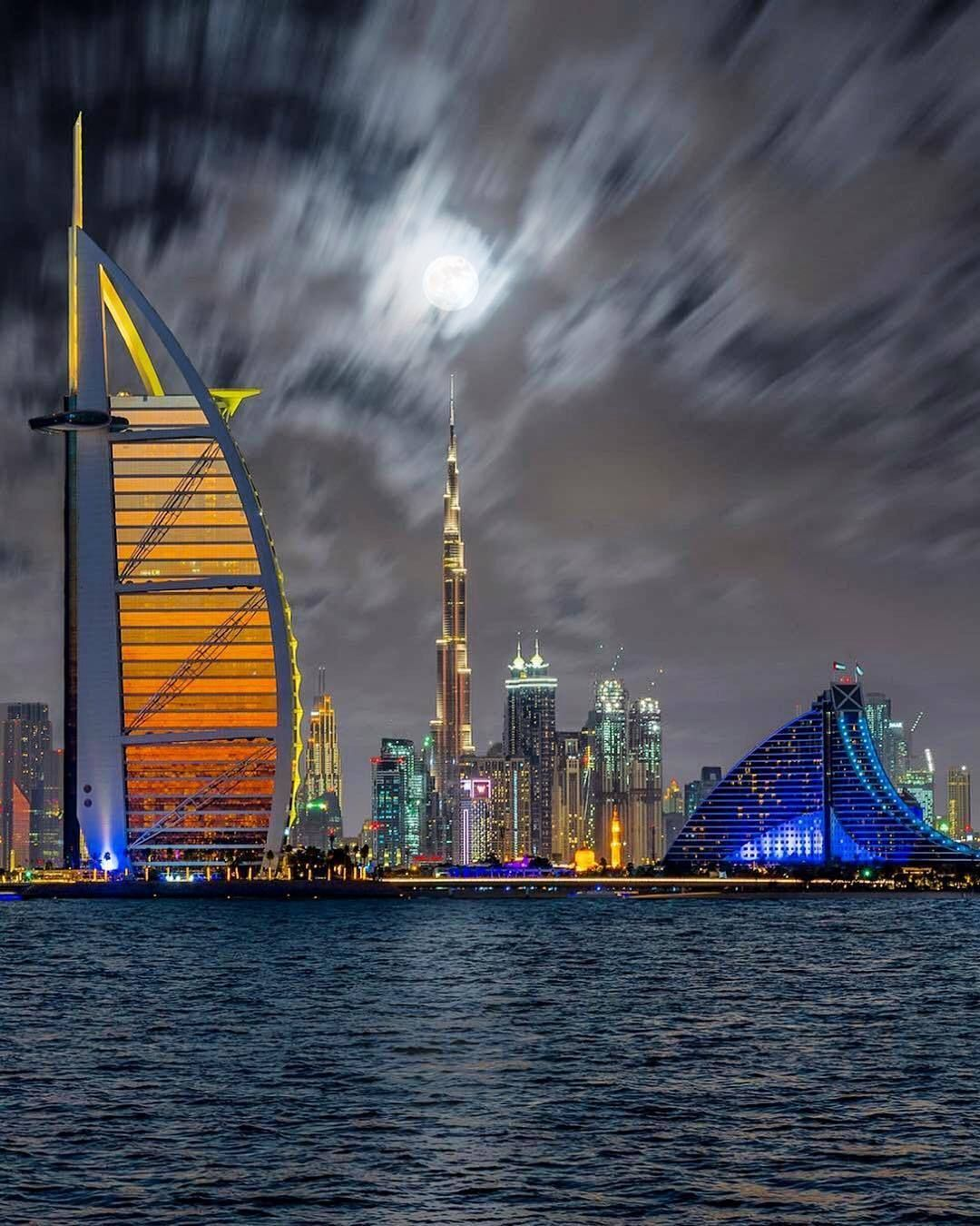 A Scintillating View of Burj Al Arab during night time in