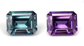 Brazilian alexandrite (daylight at left; incandescent at right), emerald cut, 3.18 ct, 9.06 x 7.23 x 5.1 mm.