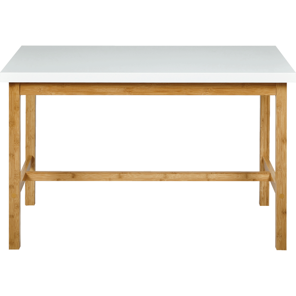 Table Haute Rectangulaire Blanche L120cm Buluh 120x70 Table Haute Table Haute Table Table Repas