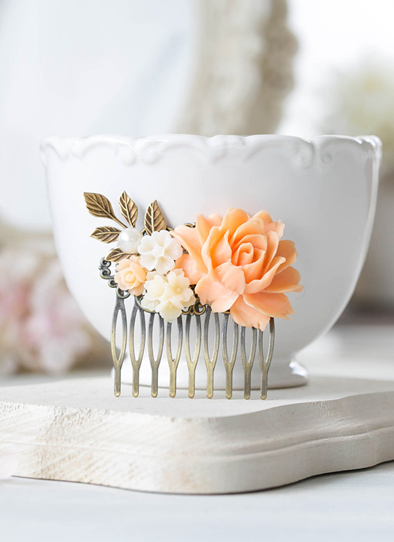 Peach Wedding Bridal Hair Comb Peach Peony Cream Ivory White Flower Leaf Branch Hair Comb Bridesmaid Gift Country Chic Wedding Vintage Style