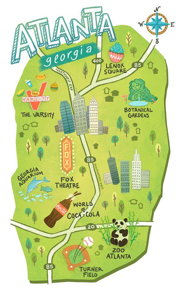 Illustrated maps of Atlanta, GA, Austin, TX, and Seattle, WA for The ...