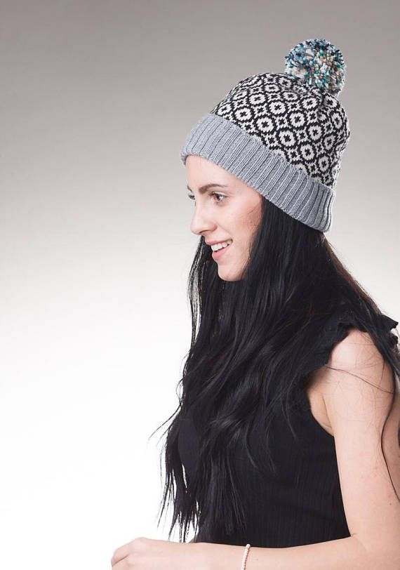 Winter hat, Fair Isle knit hat, Merino wool Hat, bobble beanie hat ...