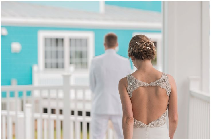 The First Look For The Bride and Groom!! Love this Moment and Picture! Oyster Farm Wedding at the Eastern Shore Virginia - #ElizabethHensonPhotos #oysterfarm #easternshore #virginiaweddingphotographer