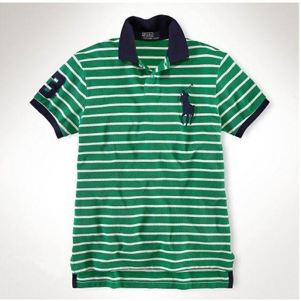 Men Buy Popular Ralph Lauren Big Pony Classic-Green White Stripe Polo