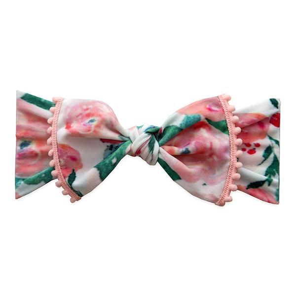 Trimmed Knot Watercolor Floral White Coral Pom Trim Baby Bling Bows Hair Bows For Sale Baby Bling Bows Bows For Sale