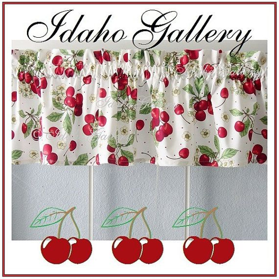 Cherry Curtains For The Kitchen Windows Decor Red