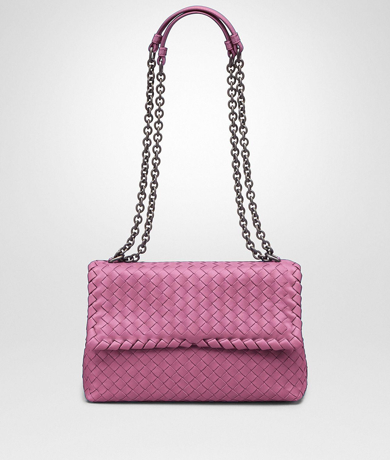 a994add296 Bottega Veneta® - SMALL OLIMPIA BAG IN PEONY INTRECCIATO NAPPA ...
