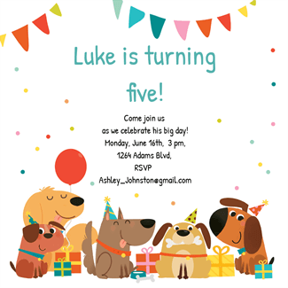 delighted dogs free printable birthday invitation template greetings island puppy party. Black Bedroom Furniture Sets. Home Design Ideas