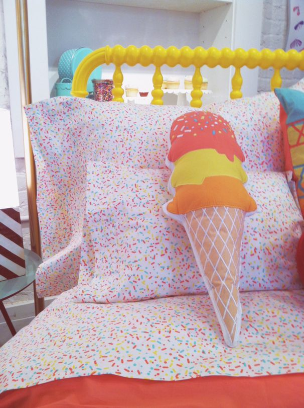 Sprinkle Sheets And Ice Cream Cushion, Ice Cream Sprinkles Bedding