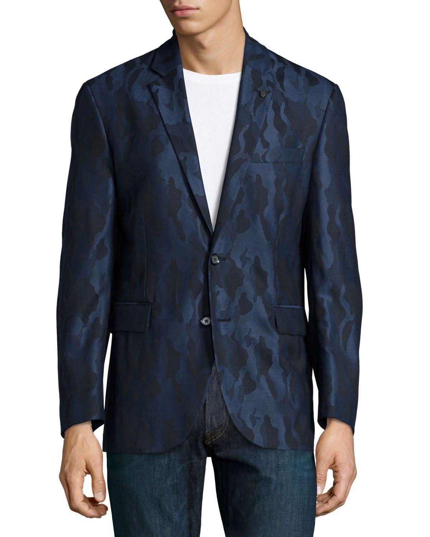 530d7e0a45390 Albert Bridge Camo-Print Sport Coat, Navy, Men's, Size: 48 - Robert Graham